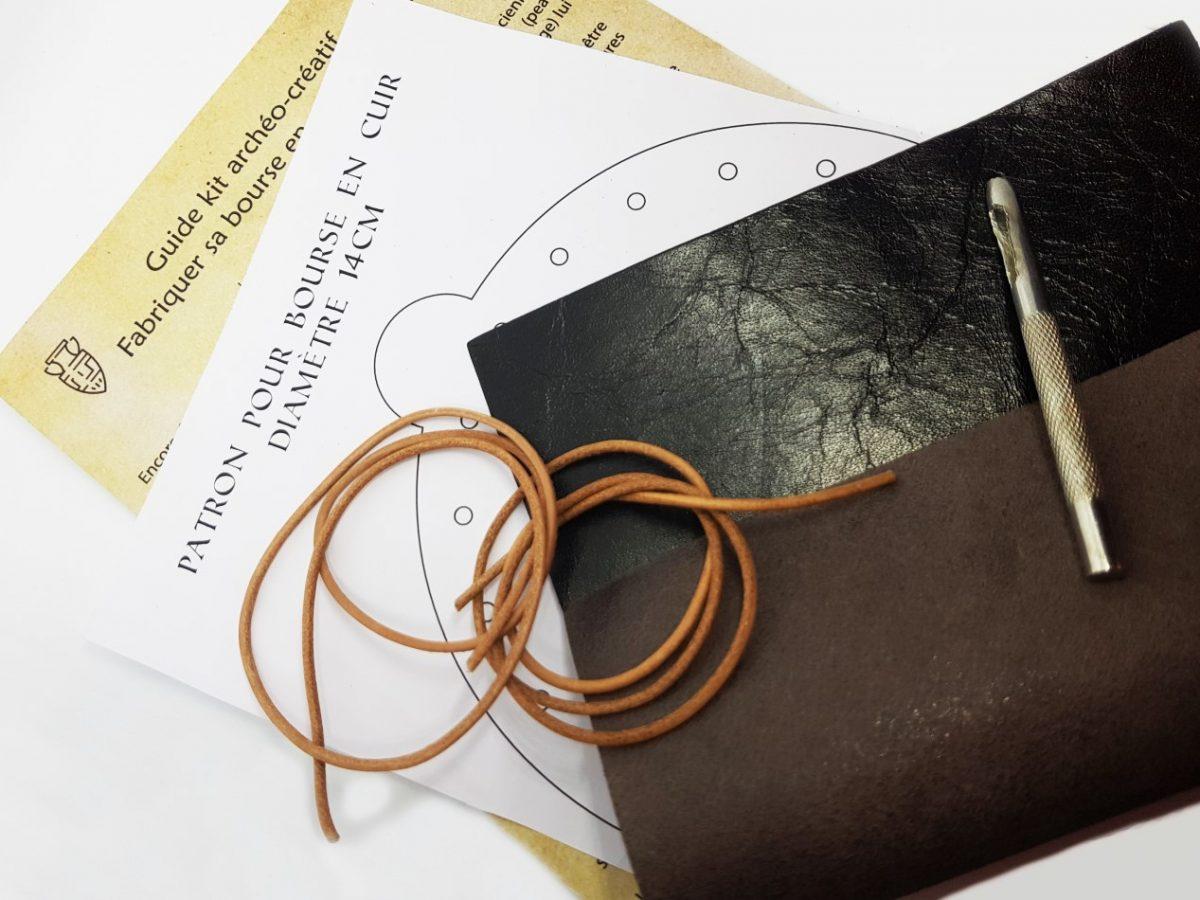 Kit archéo-créatif : fabriquer sa bourse en cuir de A à Z